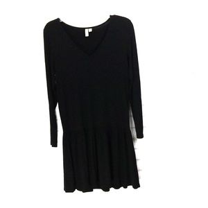 Asos long sleeve pleated black dress size M